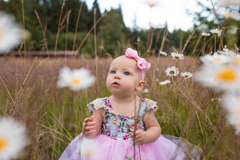 Children Photography - Children Photographer - baby girl sitting among the flowers