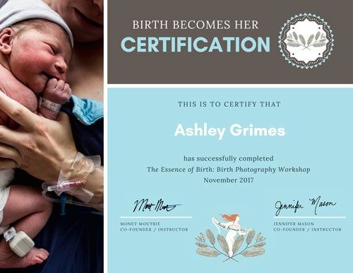 About Me - Birth becomes her Birth Photography Certification